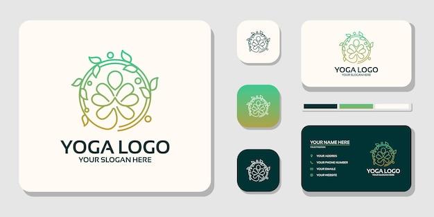 Medytacja jogi z abstrakcyjnymi liniami logo i projektem wizytówek premium wektorów