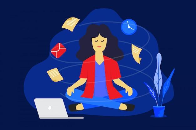 Medytacja kobieta w pracy. biznesowy pracujący projekta pojęcie