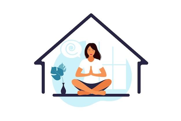 Medytacja, koncepcja jogi, relaks, rekreacja, zdrowy styl życia. kobieta w pozycji lotosu. ilustracji wektorowych.