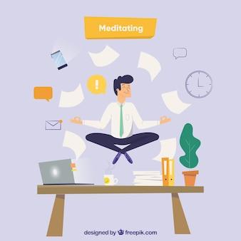 Medytacja koncepcja z biznesmenem