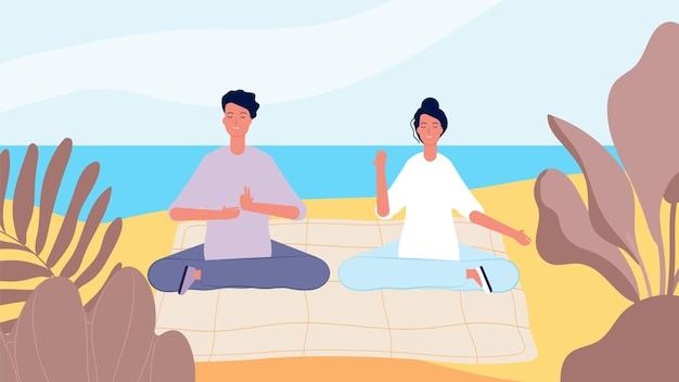 Medytacja na plaży. mężczyzna kobieta rano zrelaksować się
