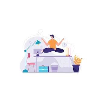 Medytacja podczas pracy ilustracji
