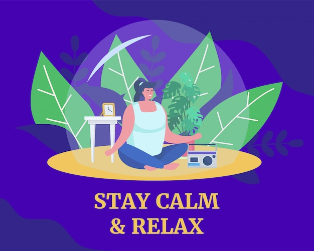 Medytacja pomaga zachować spokój i relaksuje, ilustracja. kobieta w jodze pozować, medytować i dbać o zdrowie podczas kwarantanny.