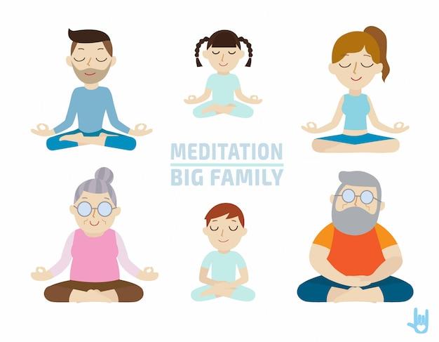 Medytacja. projektowanie postaci ludzi. koncepcja opieki zdrowotnej.
