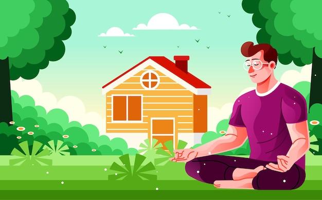 Medytacja rano na świeżym powietrzu