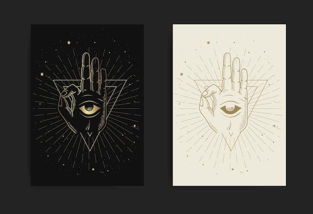 Medytacja ręka i wewnętrzne oko z grawerowaniem, ręcznie rysowanym, luksusowym, ezoterycznym, stylem boho, nadające się do paranormalnych, czytnika tarota, astrologa lub tatuażu