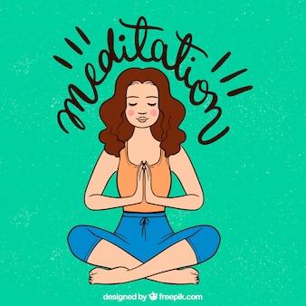 Medytować pojęcie z ręka rysującą kobietą