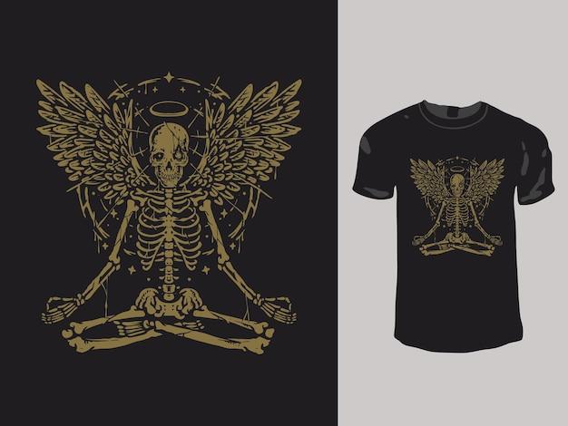 Medytujący projekt koszulki z czaszką anioła