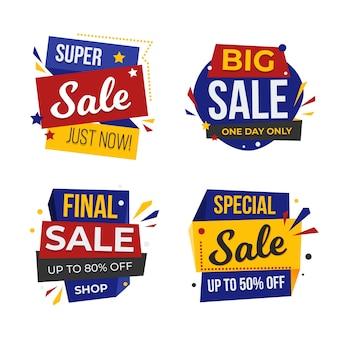 Mega banner sprzedaży i zestaw odznak