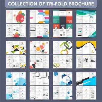Mega collection tri-fold leaflet, projekt broszury.