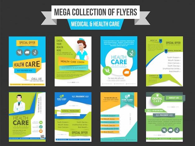 Mega kolekcji ośmiu ulotek lub wzorów szablonów dla koncepcji medycyny i opieki zdrowotnej