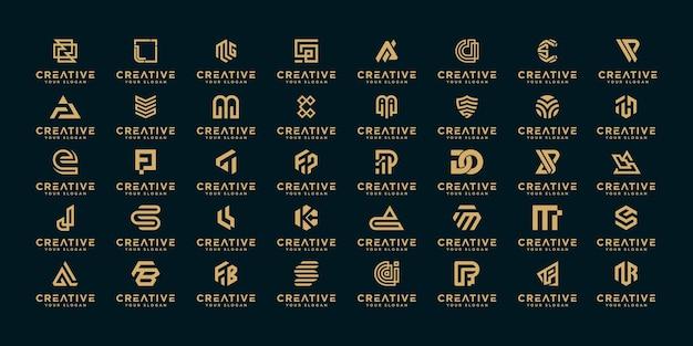 Mega logo kolekcja az monogram logo szablon projektu.
