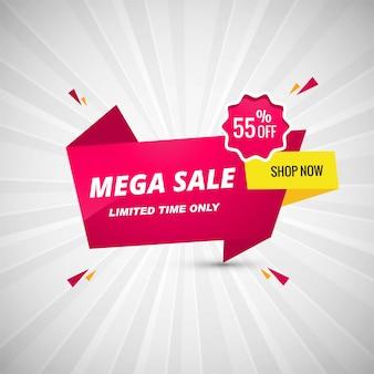 Mega offer banner design illustration