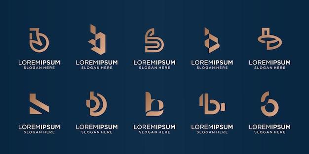 Mega pakiet abstrakcyjny monogram początkowy szablon b. litera b dla firmy biznesowej,płaskie,nowoczesne,tech,symbol,grafika,kształt. projekt ilustracji wektorowych. wektor premium