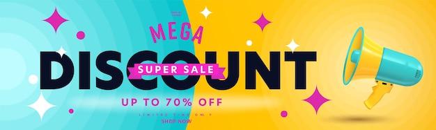 Mega rabat super wyprzedaż do 70 procent zniżki na baner nagłówkowy.