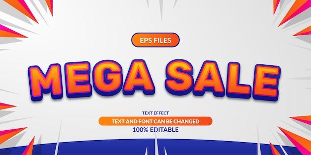 Mega sprzedaż 3d edytowalny efekt tekstowy. plik wektorowy eps. promocja rabat plakat reklamowy szablon banera