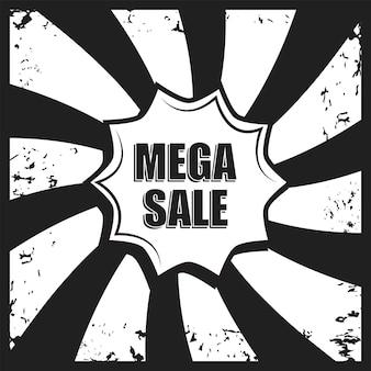 Mega sprzedaż baner retro. vintage grunge szablon do promocji sprzedaży