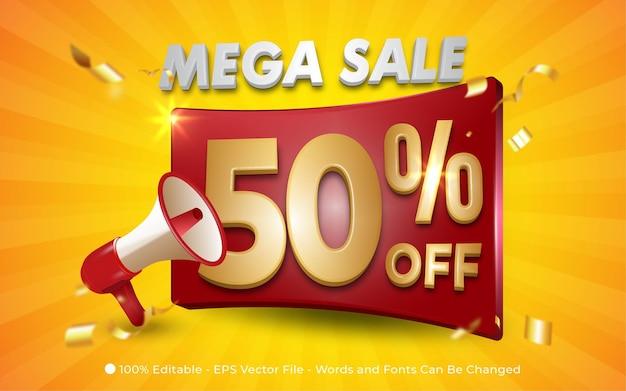 Mega sprzedaż edytowalny efekt tekstowy z megafonem, stylowe ilustracje