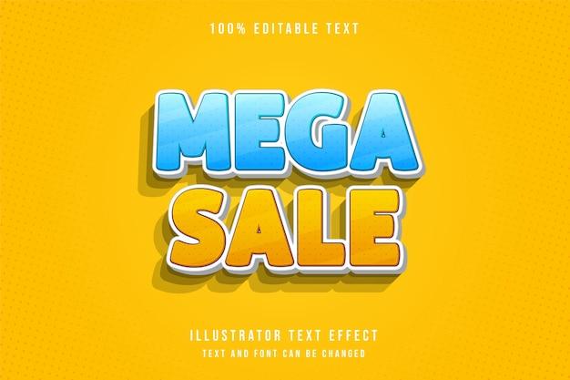 Mega sprzedaż, efekt edytowalnego tekstu 3d nowoczesny styl niebieski gradacja żółty tekst