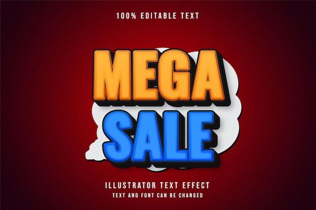 Mega sprzedaż, efekt edytowalnego tekstu 3d żółty efekt gradacji stylu niebieski