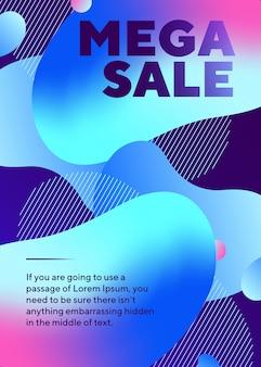 Mega sprzedaż napis plakat z abstrakcyjnymi neonowymi kształtami