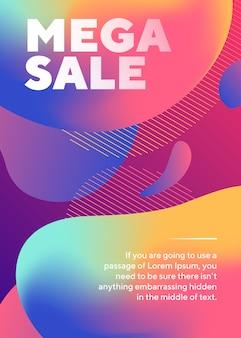 Mega sprzedaż napis plakat z abstrakcyjnymi płynnymi kształtami