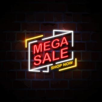 Mega sprzedaż neon styl znak ilustracja