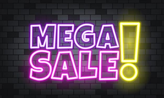 Mega sprzedaż neon tekst na tle kamienia. mega wyprzedaż. dla biznesu, marketingu i reklamy. wektor na na białym tle. eps 10.
