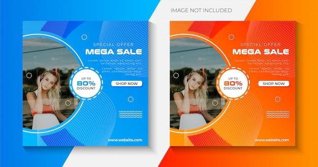 Mega sprzedaż promocyjny kreatywny szablon banerów społecznościowych premium