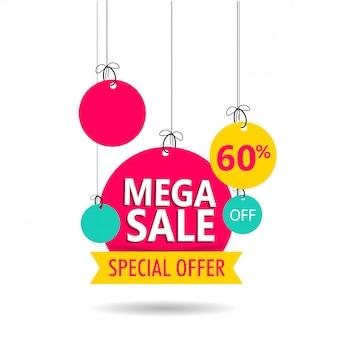 Mega sprzedaż tagu lub etykiety z ofertą rabatu 60% na białym backgrou
