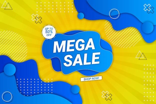 Mega sprzedaż tło żółty i niebieski styl płynu