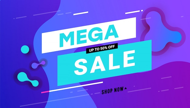 Mega sprzedaż transparent z abstrakcyjnym dynamicznym gradientem falistym cieczy
