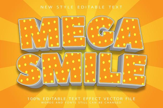 Mega uśmiech edytowalny efekt tekstowy wytłoczony w nowoczesnym stylu