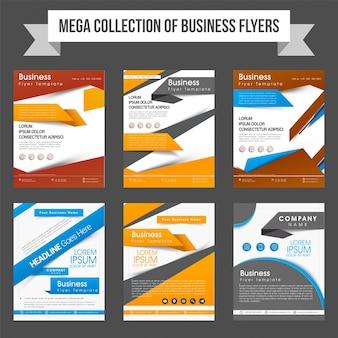Mega zbiór sześciu profesjonalnych ulotek lub szablonów do tworzenia raportów biznesowych i prezentacji