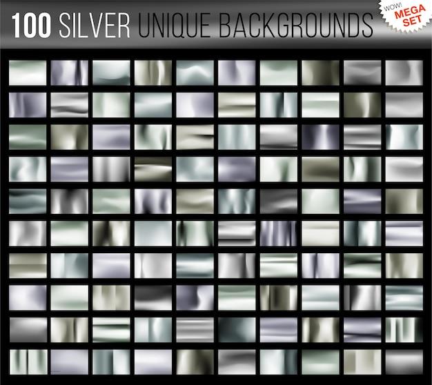 Mega zestaw 100 unikalnych srebrnych teł