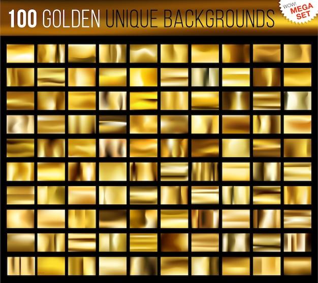 Mega Zestaw 100 Unikalnych Złotych Teł Premium Wektorów
