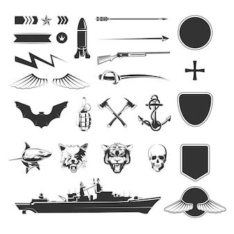 Mega zestaw elementów militarnych.