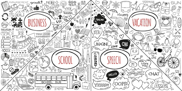 Mega zestaw gryzmołów. super kolekcja banerów, strzałek, powrotu do szkoły, romantycznej miłości, biznesu i finansów, wakacji, mediów społecznościowych, opieki zdrowotnej i elementów zakupów. kreatywne piktogramy infografiki