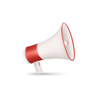 Megafon czerwony i biały na białym tle. ilustracja wektorowa 3d