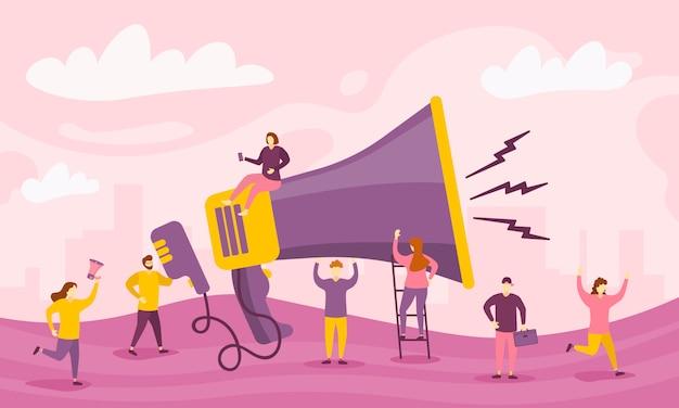 Megafon i postaci ludzie. duży megafon i płaskie znaki reklamowe. koncepcja marketingowa. promocja firmy, reklama, dzwonienie przez klakson, alarmowanie online. ilustracja.