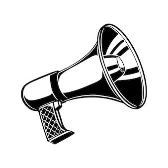 Megafon ilustracja w stylu grawerowanie na białym tle. element projektu plakatu, karty, banera, ulotki. ilustracja wektorowa