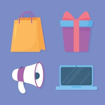 Megafon laptopa prezent i ikony torby