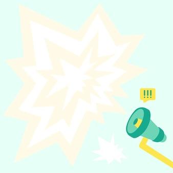 Megafon rysunek z dużym sparking chat cloud making głośne ogłoszenie. bullhorn drawing produkujący duży blask wiadomości napływowej reklamy silna nowa promocja.