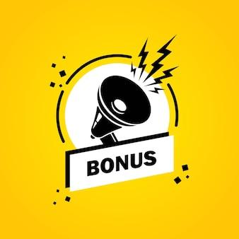 Megafon z banerem bańka mowy bonus. głośnik. etykieta dla biznesu, marketingu i reklamy. wektor na na białym tle. eps 10.
