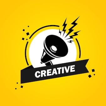 Megafon z banerem creative mowy bańka. głośnik. etykieta dla biznesu, marketingu i reklamy. wektor na na białym tle. eps 10.