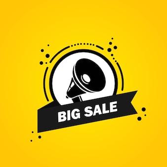 Megafon z dużą sprzedażą mowy bańka transparent. głośnik. etykieta dla biznesu, marketingu i reklamy. wektor na na białym tle. eps 10.