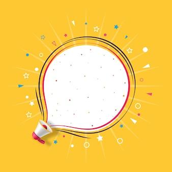 Megafon z żółtym szablonem mowy bańka