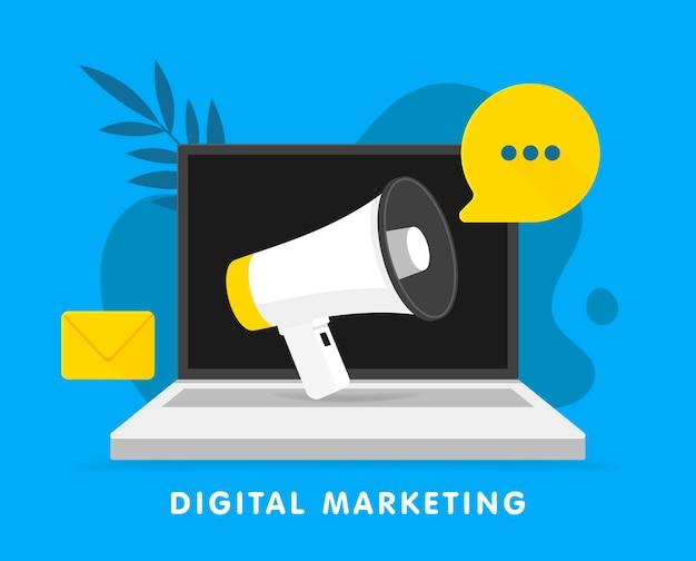Megafon zapowiedzi na laptopie. koncepcja marketingu cyfrowego dla sieci społecznościowych, promocji i reklamy. ilustracja.