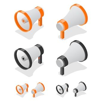 Megafon zestaw symbol głośnika. widok izometryczny.