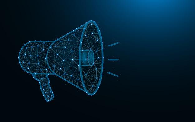 Megafonowa konstrukcja low poly, reklama wielokątna siatka reklamowa, głośnik wykonany z punktów i linii na ciemnoniebieskim tle